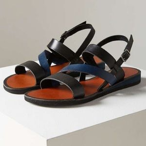 URBAN OUTFITTERS BLACK BLUE GLADIATOR STRAP SANDAL